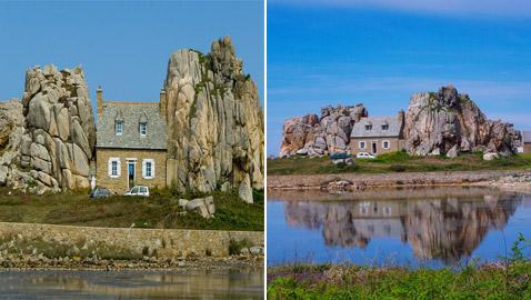 صور: منزل غريب بين صخرتين عملاقتين يخطف أنظار السائحين في فرنسا